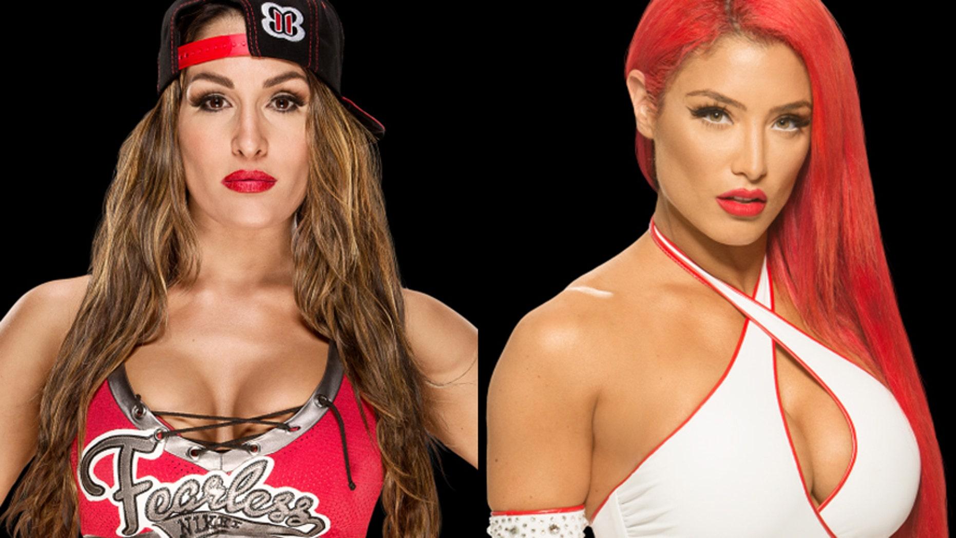 WWE wrestlers Nikki Bella (left) and Eva Marie.