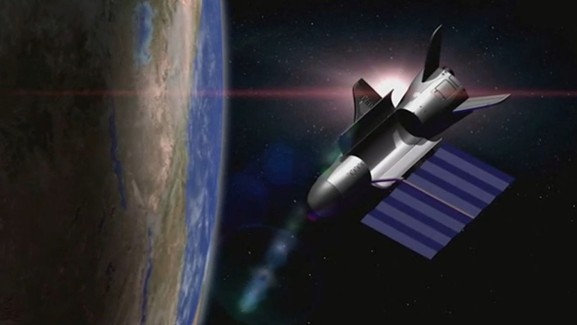 An artist's depiction of the U.S. Air Force's unmanned X-37B space plane in orbit with its solar array deployed and payload bay open.