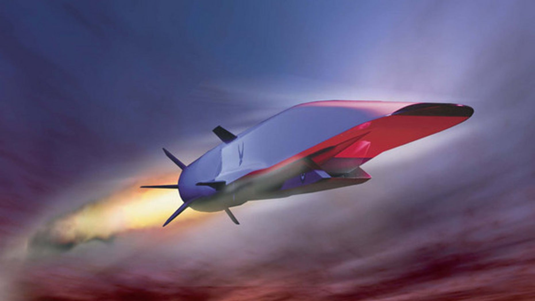 This Air Force illustration depicts the X-51A Waverider scramjet vehicle during hypersonic flight during its May 26, 2010 test. Powered by a Pratt & Whitney Rocketdyne SJY61 scramjet engine, it is designed to ride on its own shockwave and accel