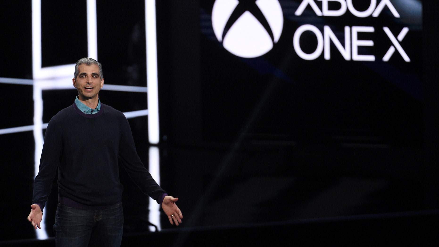 Kareem Choudhry, Xbox Vice President, introduces the Xbox One X gaming console during the Xbox E3 2017 media briefing in Los Angeles, California, U.S., June 11, 2017. (REUTERS/Kevork Djansezian)