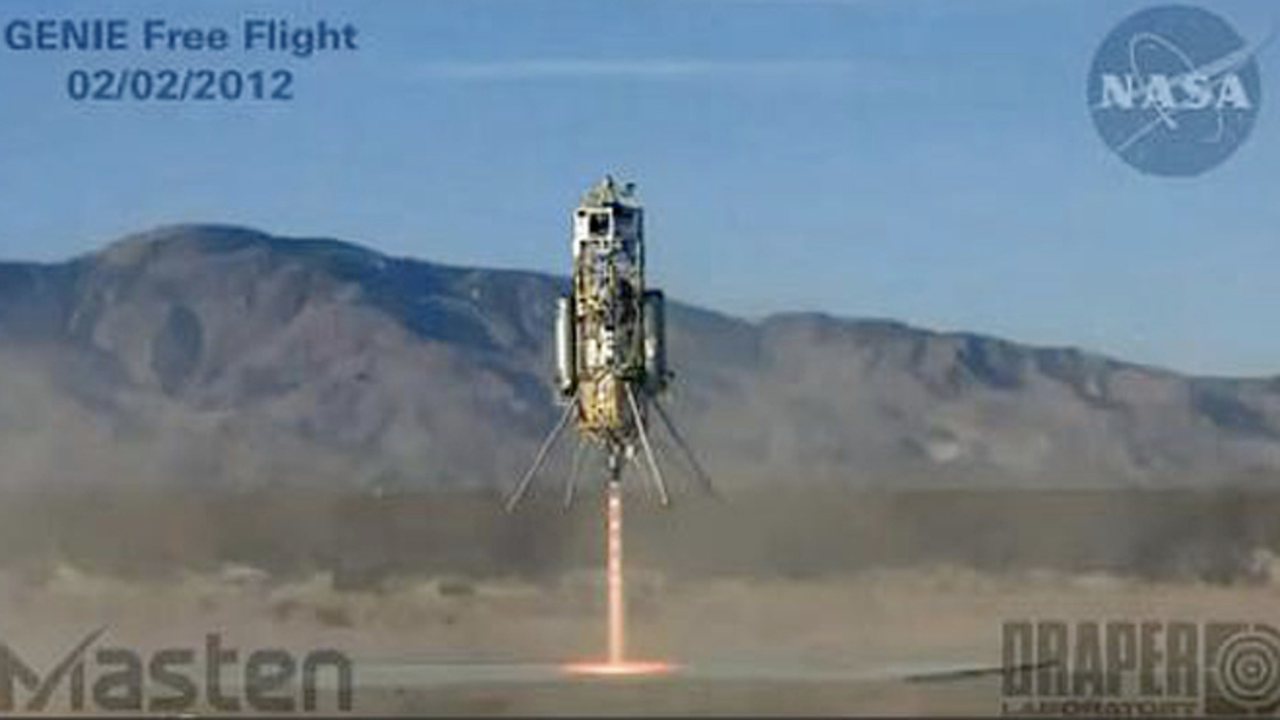 Masten Space Systems' Xombie rocket blasts off on Feb. 2, 2012, on a brief flight to demonstrate new control software.