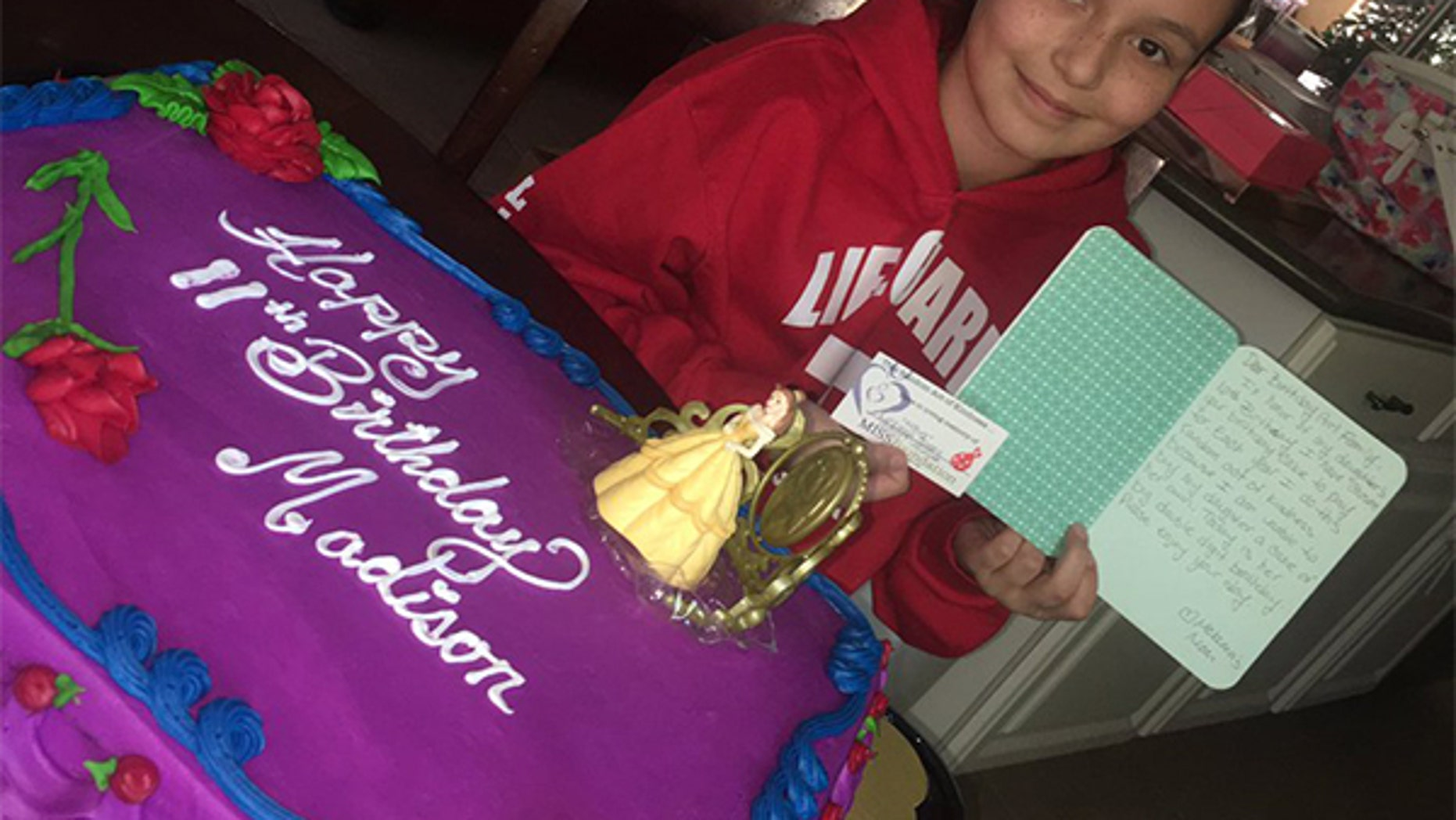 Madison Jagueri and her special birthday cake.