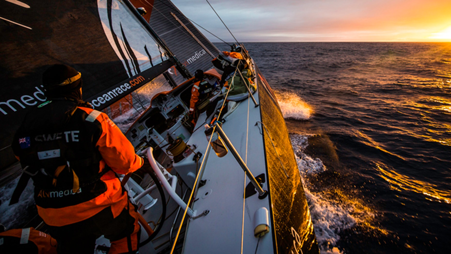 AT SEA - NOVEMBER 4: Onboard Team Alvimedica. Day 24. With just 650 miles to Cape Town, the sailing slows considerably as a high-pressure system moves in from the west. The first sunrise onboard Alvimedica in a week. Leg 1 between Alicante, Spain and Cape Town, South Africa. The Volvo Ocean Race 2014-15 is the 12th running of this ocean marathon. Starting from Alicante in Spain on October 11, 2014, the route, spanning some 39,379 nautical miles, visits 11 ports in 11 countries (Spain, South Africa, United Arab Emirates, China, New Zealand, Brazil, United States, Portugal, France, the Netherlands and Sweden) over nine months. The Volvo Ocean Race is the world's premier ocean race for professional racing crews. (Photo by Amory Ross/Team Alvimedica/Volvo Ocean Race via Getty Images)