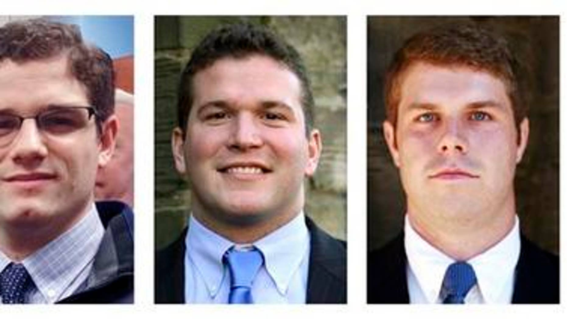 March 5, 2015: This panel of photos released by Yale University in New Haven, Conn., shows Chris Gennaro, left, Paul Rice, center, and Zach Wigmore.