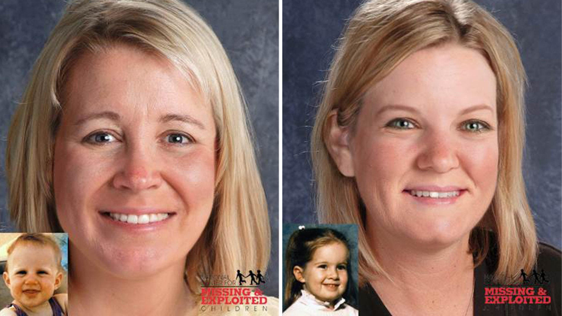 Composites of Kelly and Kimberly Yates, who were abducted in 1985.