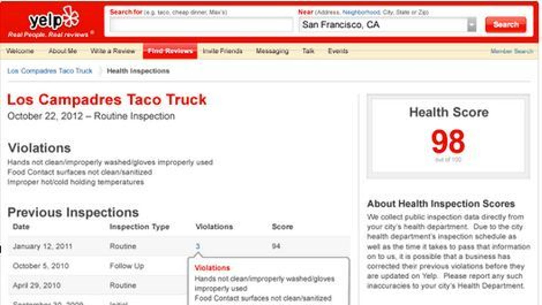 Clicking on the new health score link, opens this window that gives Yelp users detailed information on how a restaurant has fared under health department scrutiny.