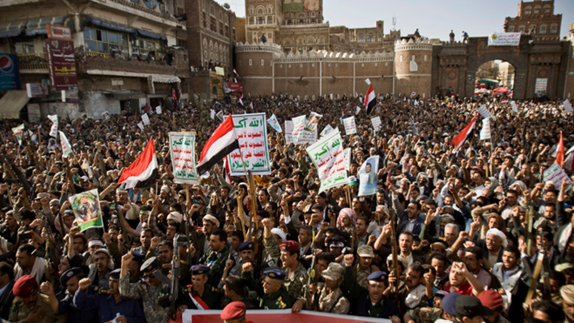 April 1, 2015: Shiite rebels, known as Houthis, chant slogans to protest against Saudi-led airstrikes, during a rally in Sanaa, Yemen. Saudi-led coalition warplanes bombed Shiite rebel positions in both north and south Yemen early Wednesday, setting off explosions and drawing return fire from anti-aircraft guns.