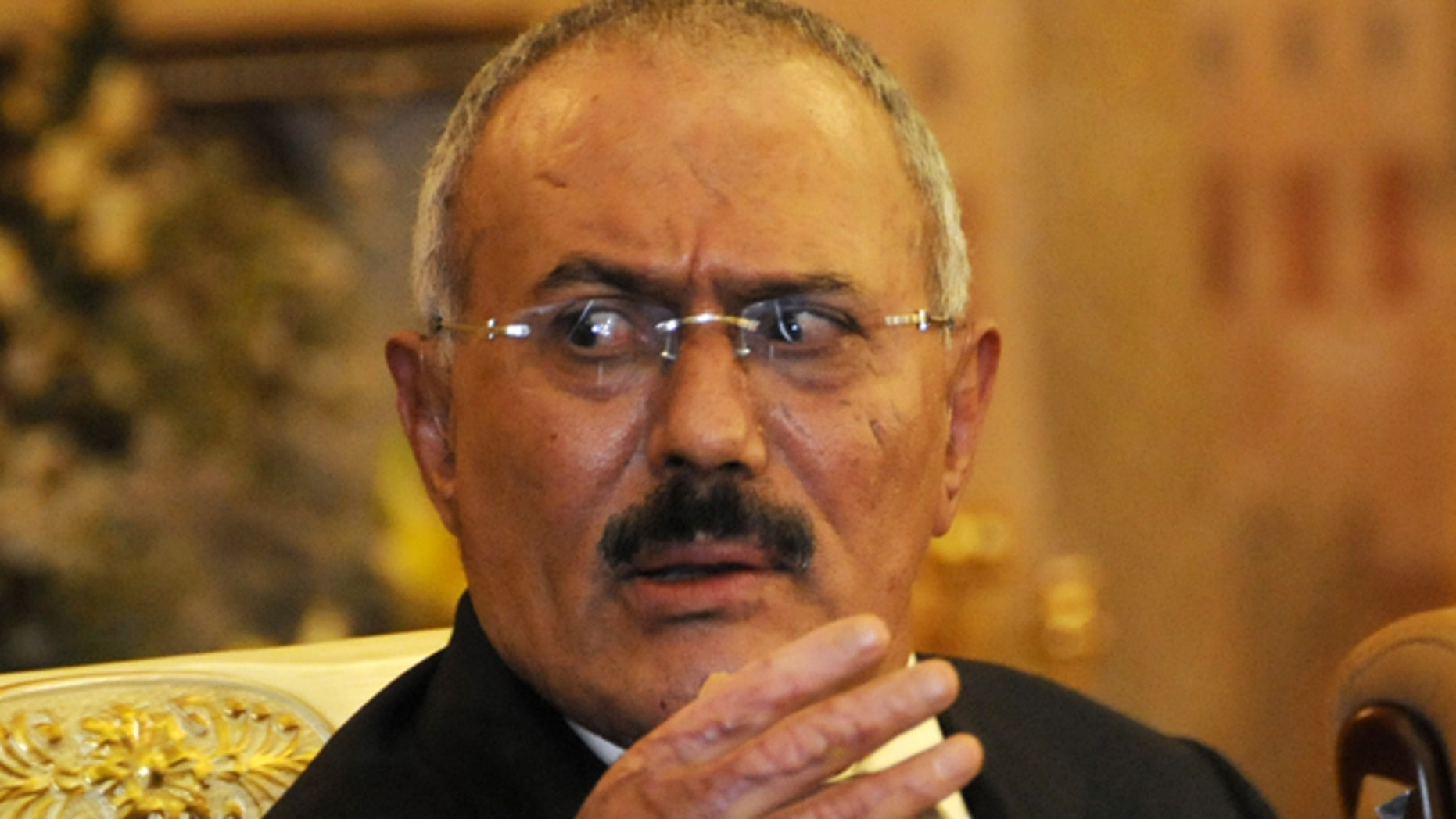 Dec. 24, 2011: Yemen's President Ali Abdullah Saleh speaks to reporters during a news conference at the Presidential Palace in Sanaa, Yemen.