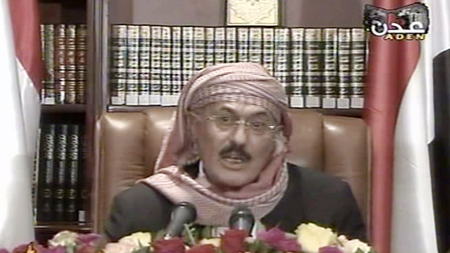 Sep. 25, 2011: In this image made from video, Yemen's President Ali Abdullah Saleh speaks on Yemen State Television. Embattled Yemeni president says he endorses U.S. backed power-transfer deal however he remained defiant in the face of thousands of Yemenis staging daily mass protests over the past eight months to press him to step down.