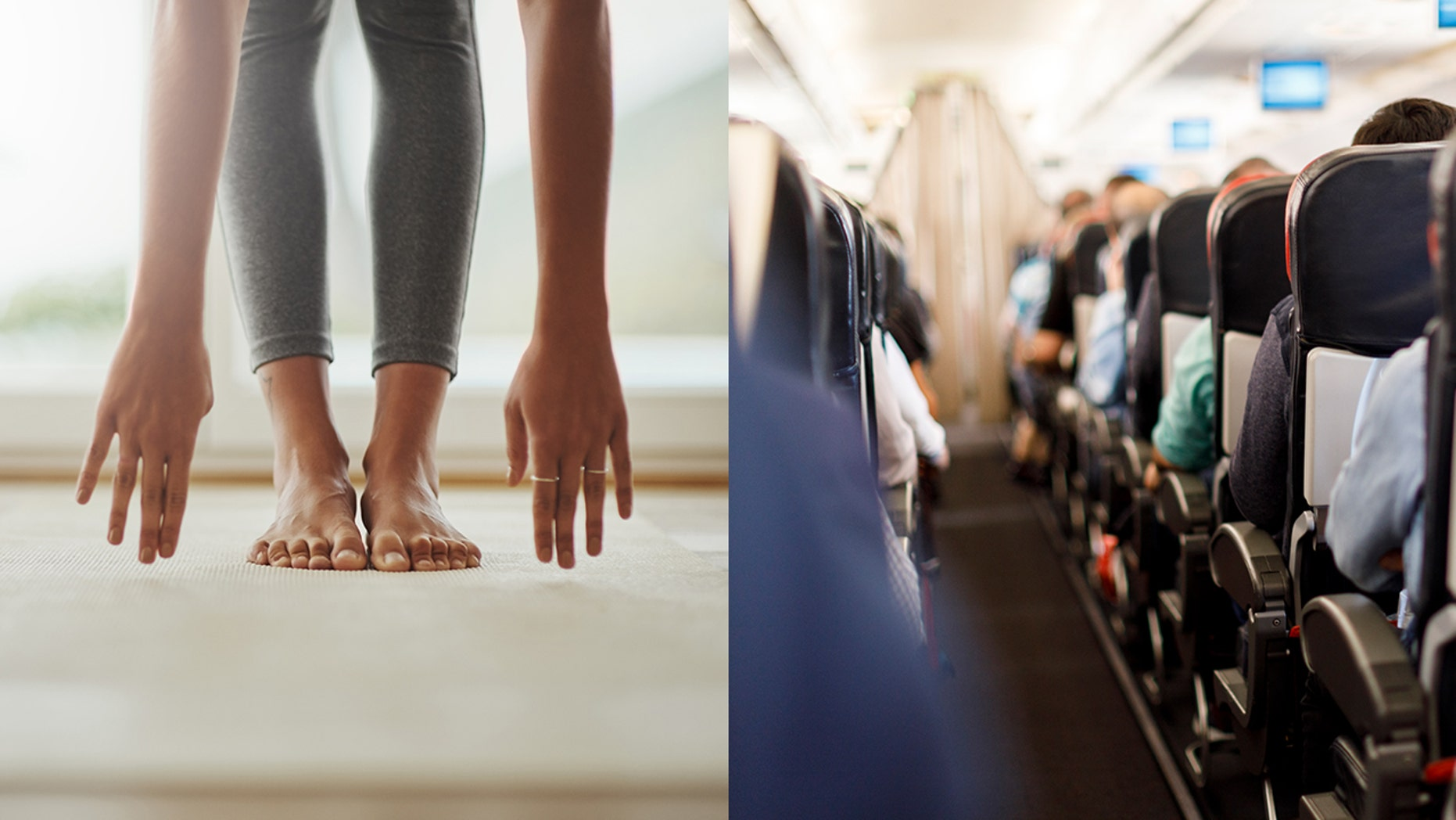 A woman was caught on video doing yoga in an airplane aisle, but some people had a problem with it.