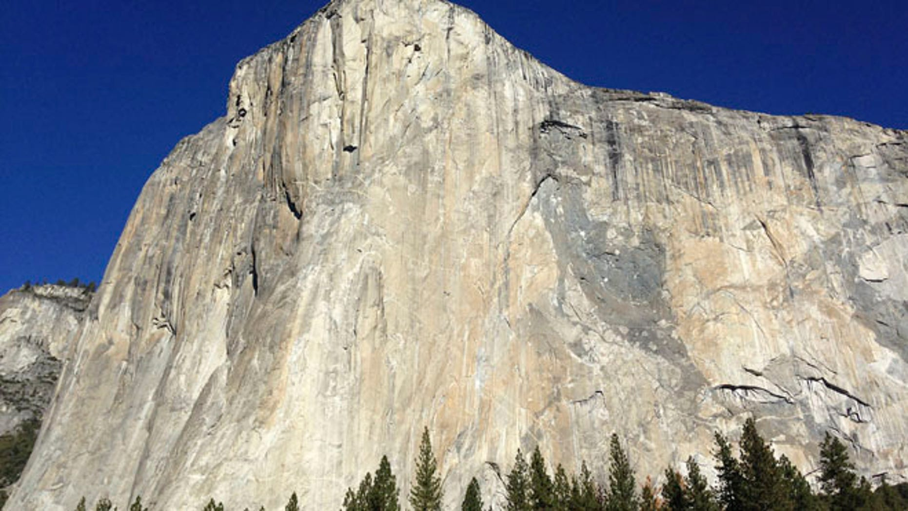 Jan. 14, 2014: Shown is El Capitan where two climbers vying to become the first in the world to use only their hands and feet to scale a sheer slab of granite make their way to the summit Wednesday in Yosemite National Park, Calif. (AP)
