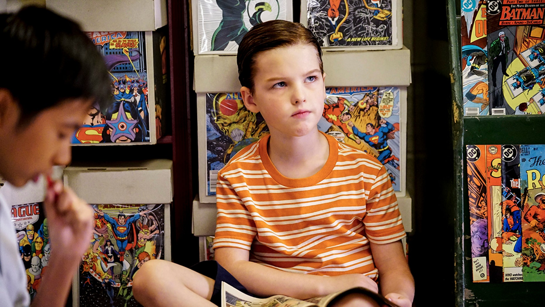 """""""A Therapist, a Comic Book, and a Breakfast Sausage"""" - Pictured: Sheldon (Iain Armitage). After choking on a breakfast sausage, Sheldon wrestles with his fear of solid foods and discovers comic books for the first time, on YOUNG SHELDON, Thursday, Nov. 16 (8:31-9:01 PM, ET/PT) on the CBS Television Network. Photo: Sonja Flemming/CBS ©2017 CBS Broadcasting, Inc. All Rights Reserved."""