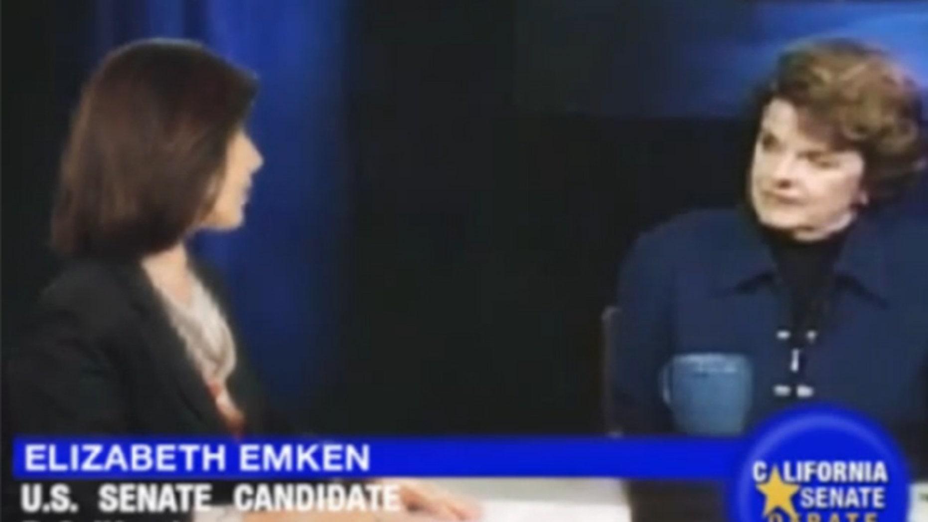 In this screen grab of the YouTube video, challenger Elizabeth Emken, left, debates a virtual version of Sen. Feinstein.