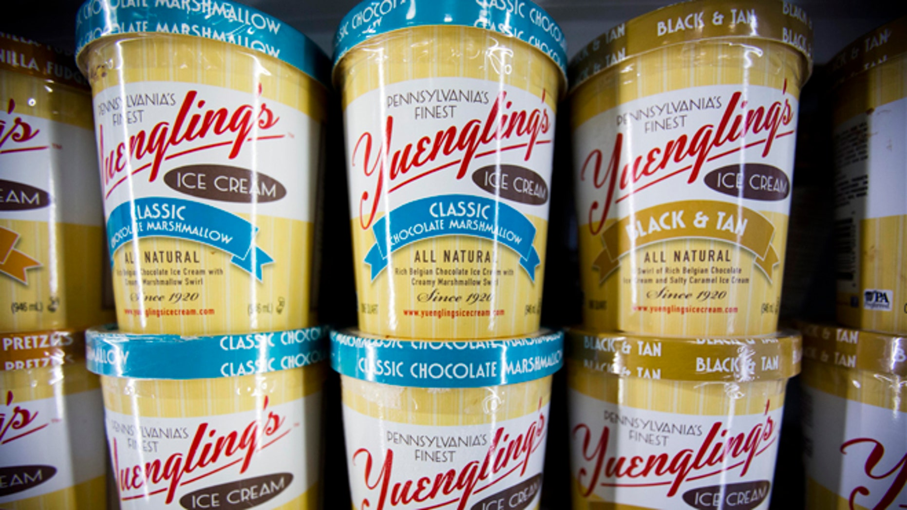 Feb. 10, 2014: Shown are cartons of Yuengling ice cream at a Weis supermarket in Huntingdon Valley, Pa.