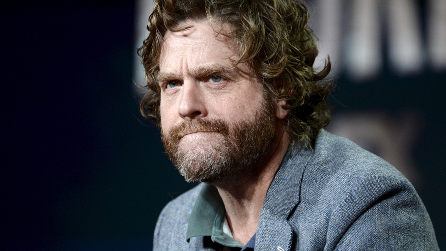 """Cast member Zach Galifianakis participates in a panel for the FX Networks series """"Baskets"""" during the Television Critics Association (TCA) Cable Winter Press Tour in Pasadena, California January 16, 2016."""