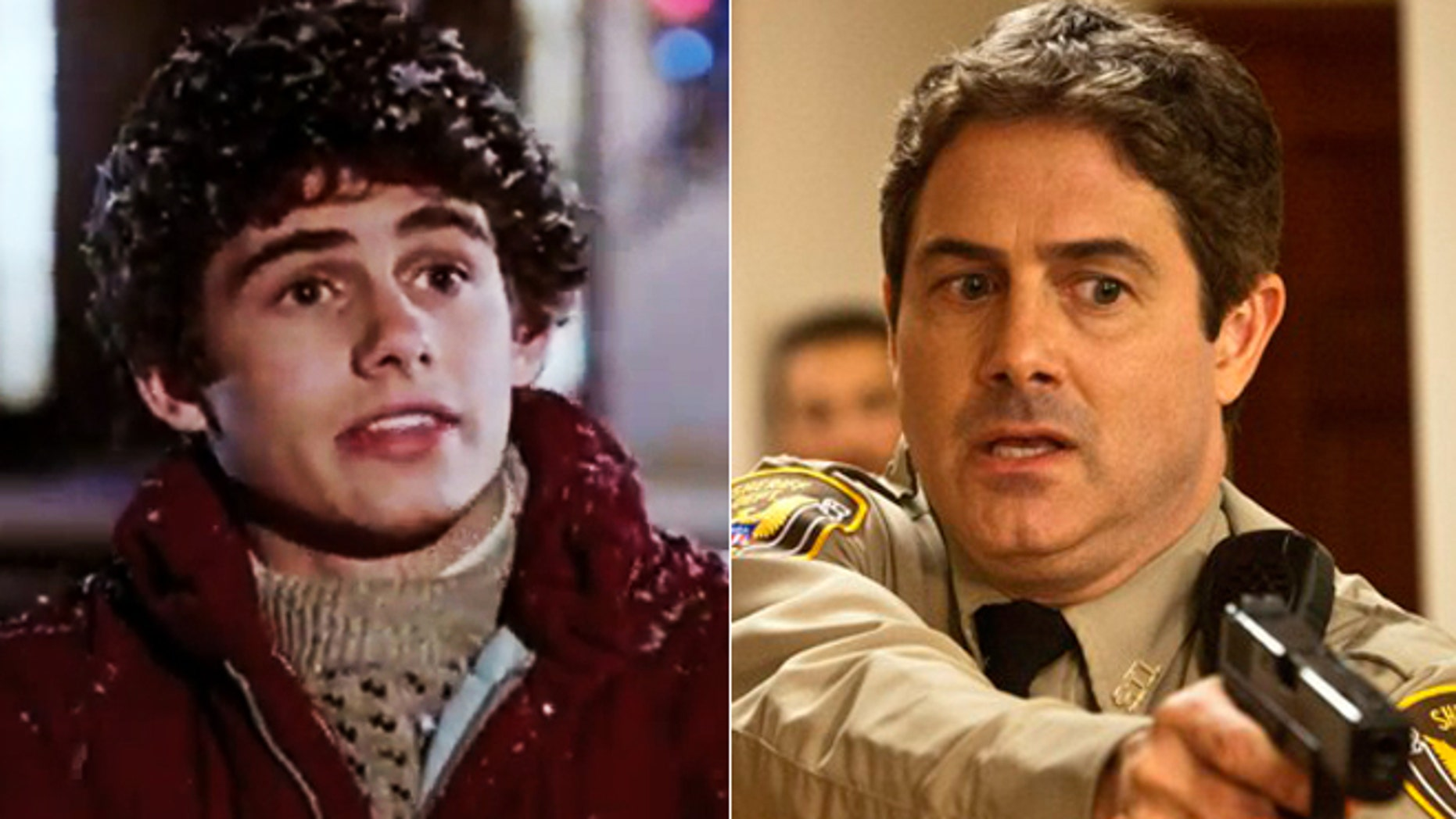 "Zach Galligan is seen in ""Gremlins"" and today."