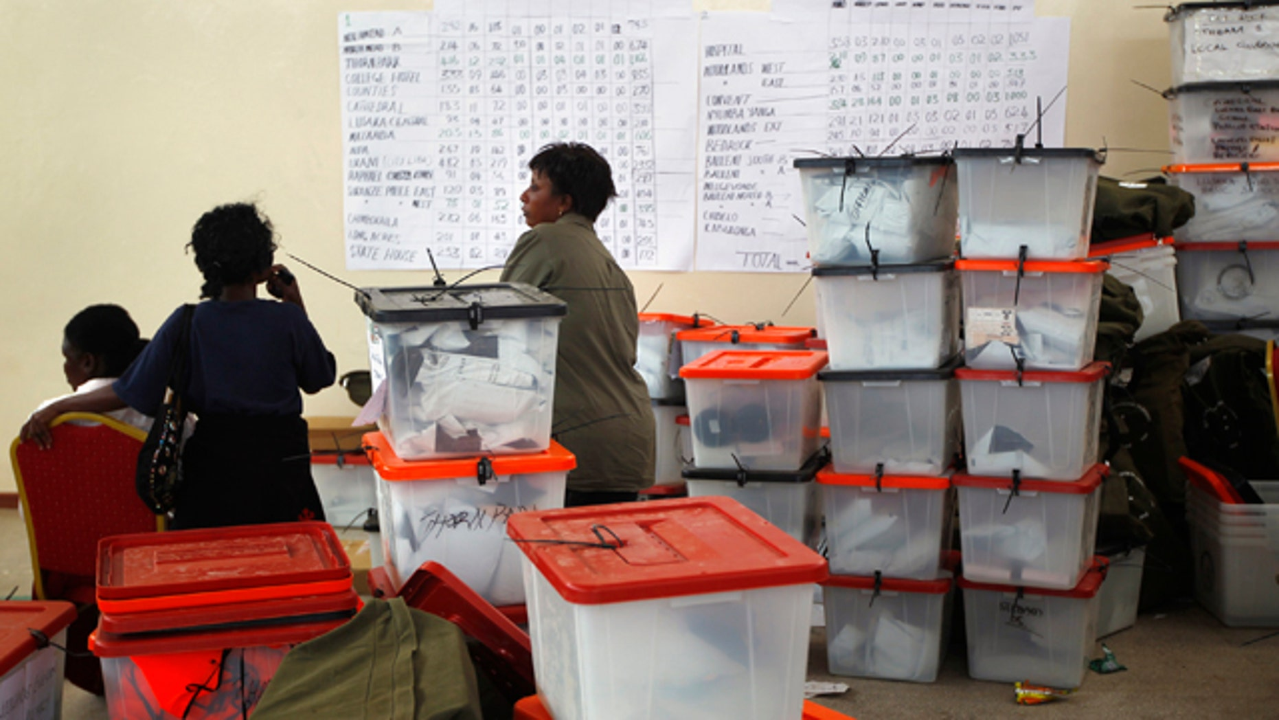 Sept. 22: Election volunteers stand by ballot boxes stored at the Civic Center in Lusaka, Zambia.
