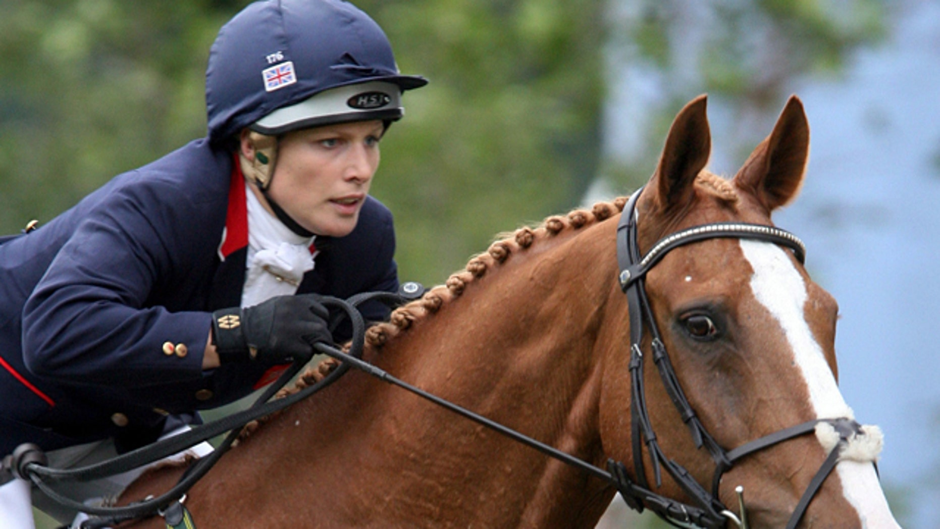 """July 6, 2007: This file photo shows Britain's Zara Phillips, a granddaughter of Queen Elizabeth II, riding """"Toytown""""  in the jumping test competition of the Event Competitions at the World Equestrian Festival CHIO Aachen 2007 in Aachen, western Germany."""