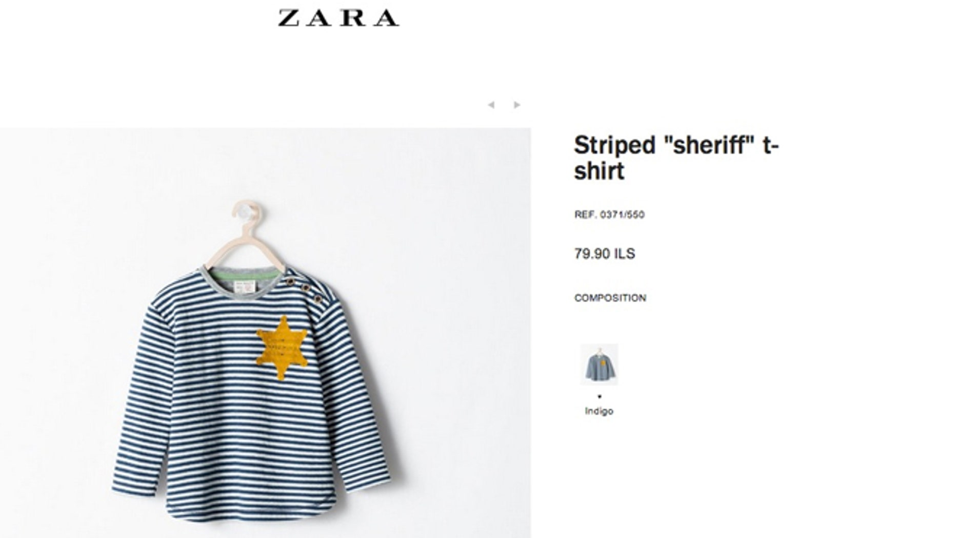"""The garment, which was marketed online as a striped """"sheriff"""" T-shirt, has been removed following complaints by critics who blasted it as insensitive and out of touch for its similarity to clothing Nazis required Jews to wear in concentration camps throughout Europe during World War II."""