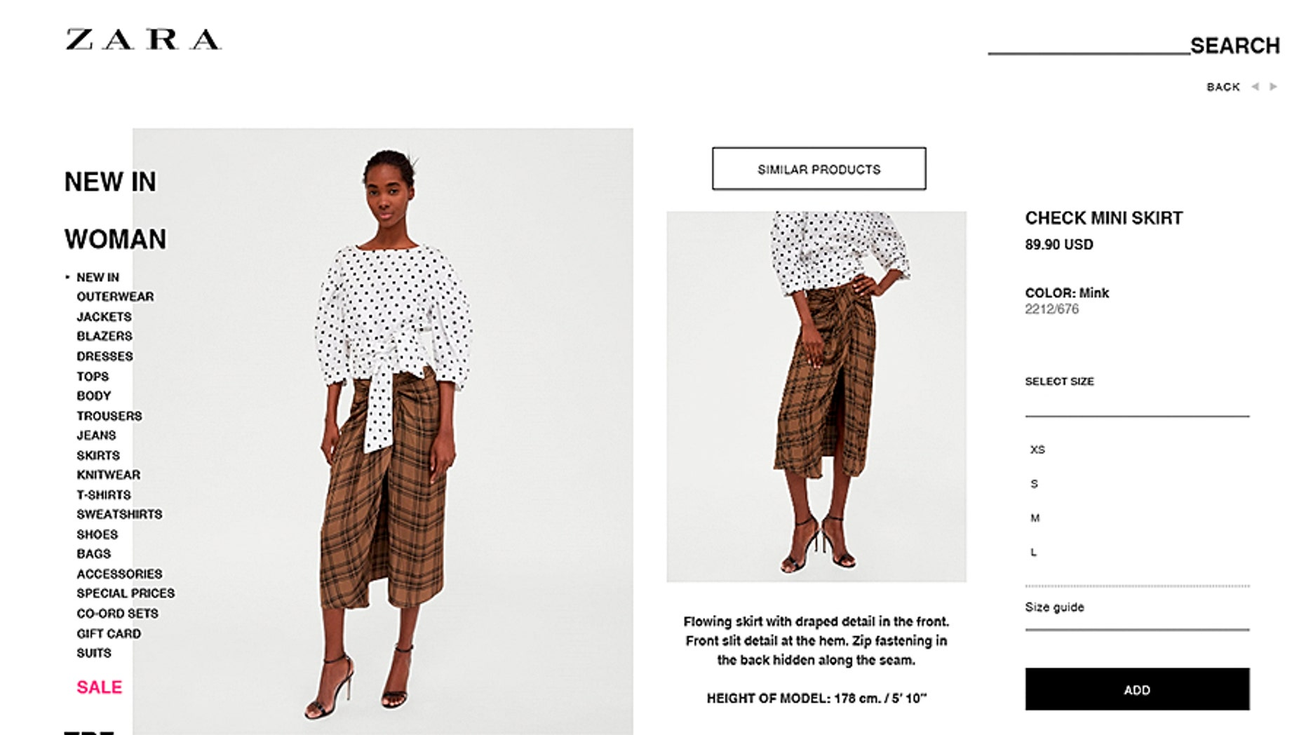 """Zara is being accused of cultural appropriation on social media for its """"check mini skirt,"""" which many say looks like a lungi."""