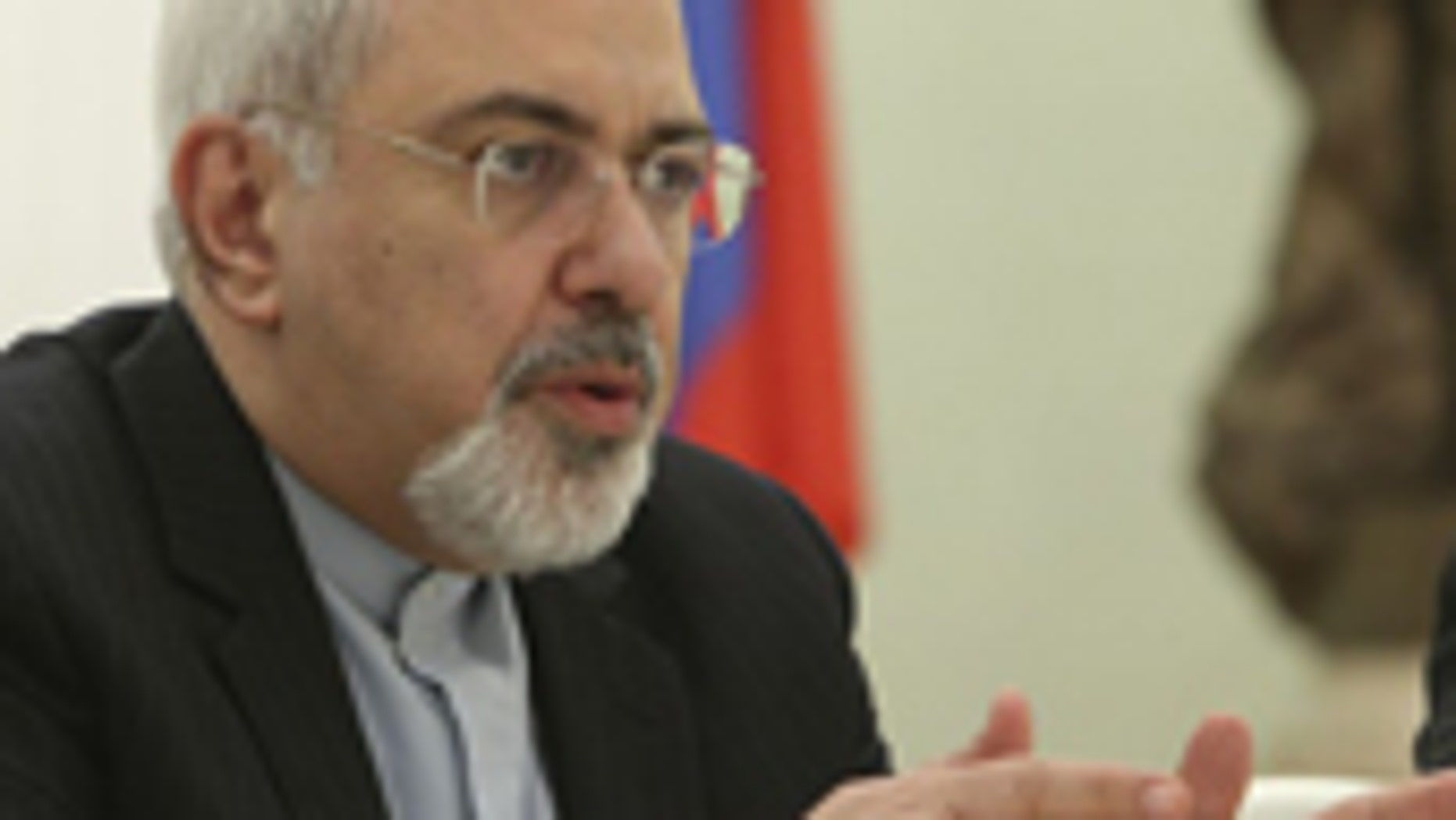 Iranian Foreign Minister Mohammad Javad Zarif speaks at his meeting with Russian President Vladimir Putin in the Kremlin in Moscow, Russia, Thursday, Jan. 16, 2014.