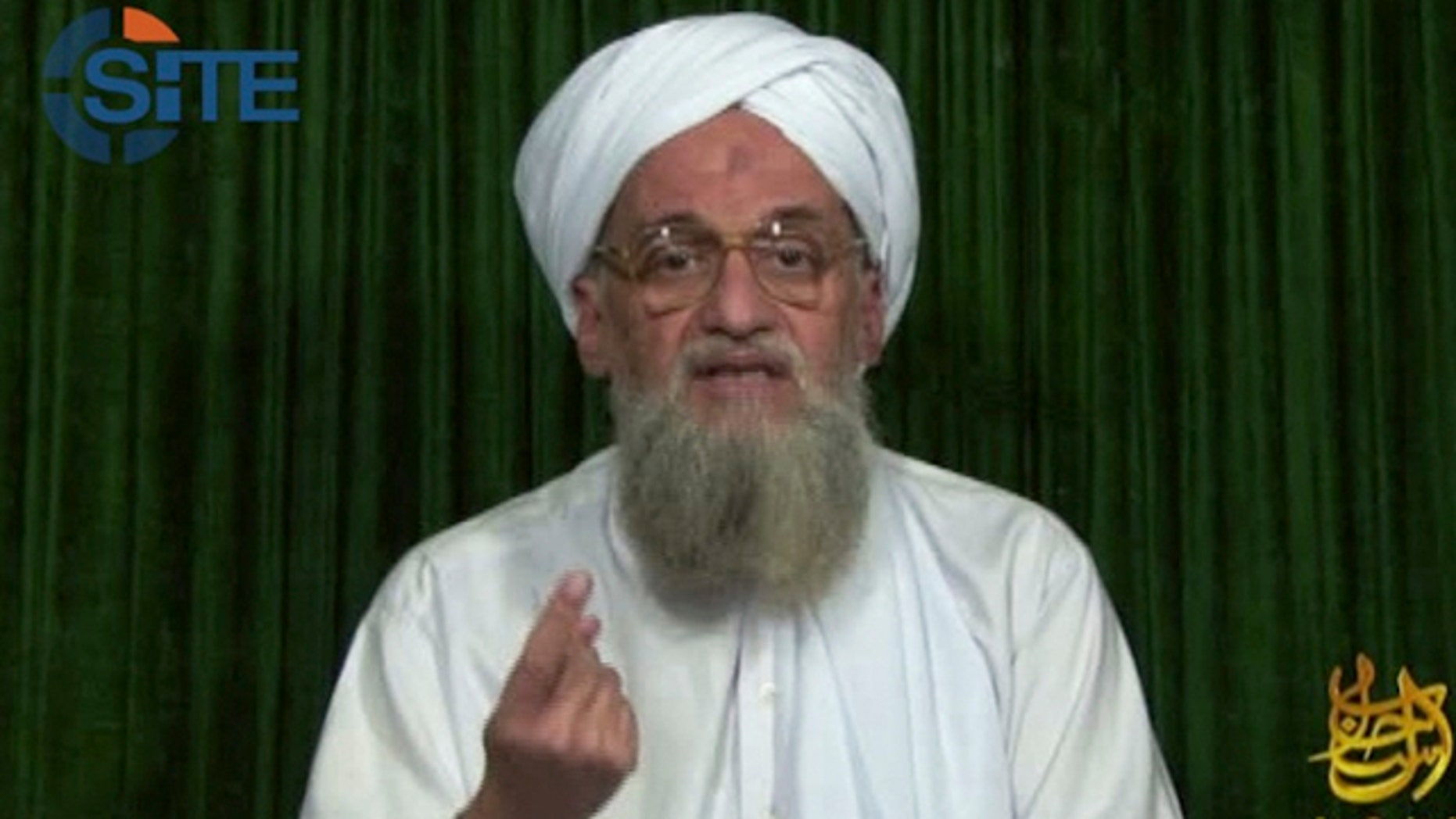 Feb. 12, 2012: This image from video AP obtained from the SITE Intel Group, an American private terrorist threat analysis company, has been authenticated based on details in it, shows Al Qaeda's leader Ayman al-Zawahri in a web posting by Al Qaeda's media arm, as-Sahab, calling on Muslims across the Arab world and beyond to support rebels in Syria who are seeking to overthrow President Bashar Assad. (AP/SITE Intel Group)