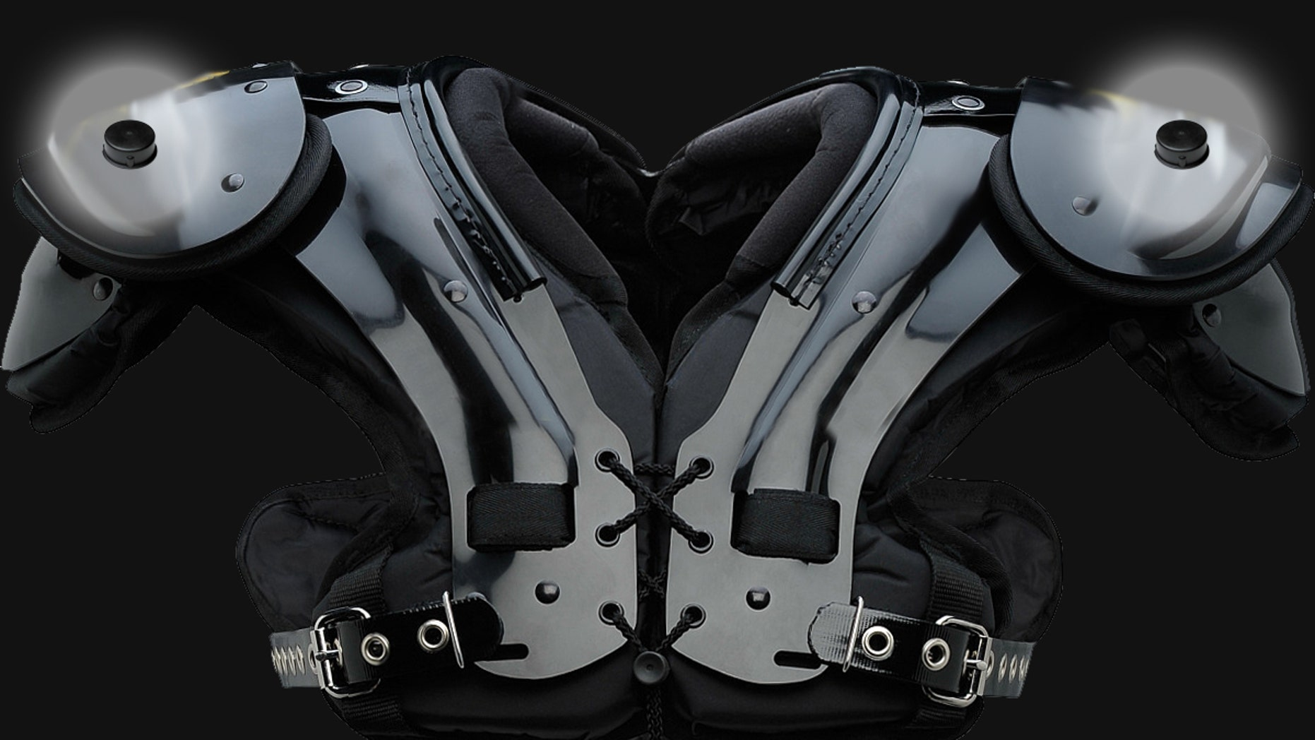 Shoulder pads with the RFID chips highlighted (Zebra Technologies).