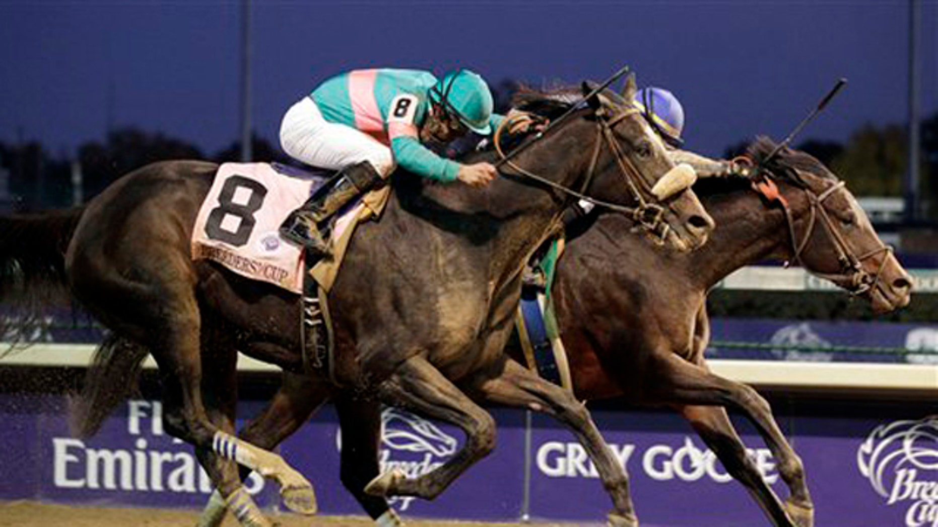 Nov. 6, 2010: Garrett Gomez riding Blame beats Mike Smith riding Zenyatta during the Classic race at the Breeders' Cup at Churchill Downs in Louisville, Ky.