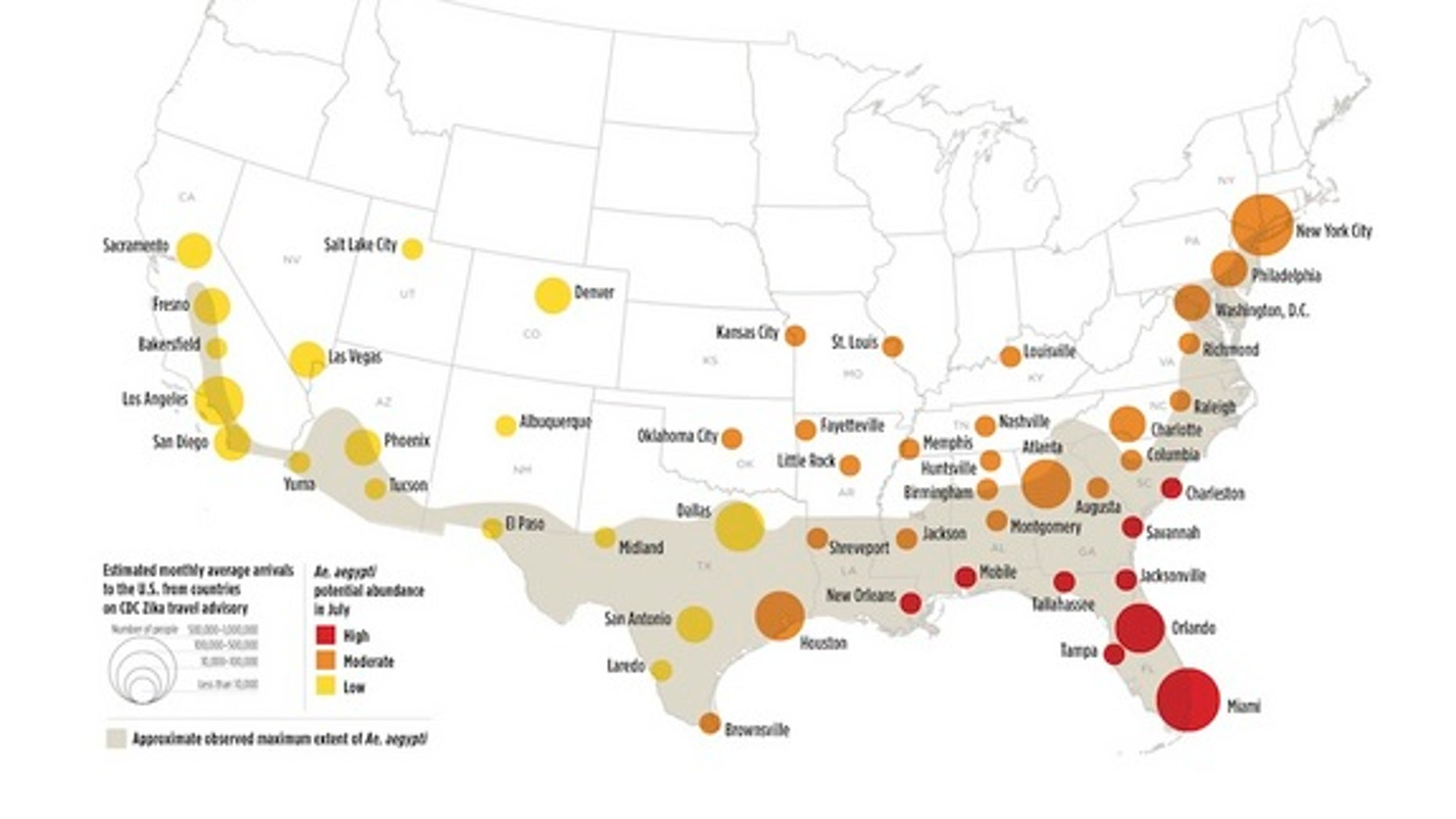 Though most of the U.S. has a low risk of Zika transmission in the spring, by July portions of the southeast will have a high risk of local Zika transmission, though the extent of these outbreaks will likely be limited.
