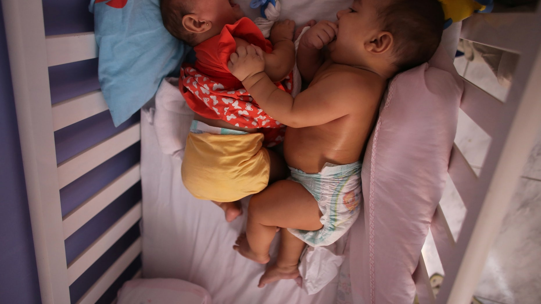 Five-month-old twins, Laura (L) and Lucas lie in their bed at their house in Santos, Sao Paulo state, Brazil April 20, 2016.