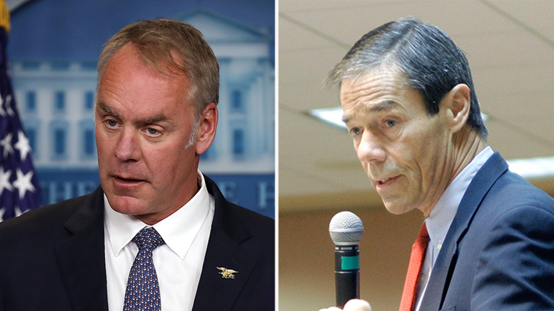 Former Governor of Alaska Tony Knowles (right) has resigned along with seven other members of the National Parks Service advisory board over claims that Department of Interior Secretary Ryan Zinke (left) had ignored their requests for a meeting.