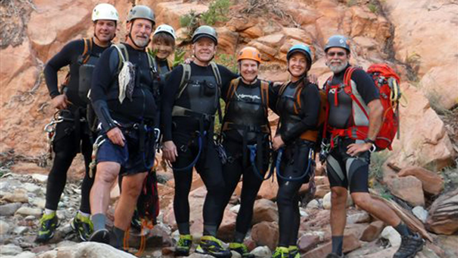 Sep. 18, 2015: This photo released by National Park Service shows from left to right: Gary Favela, Don Teichner, Muku Reynolds, Steve Arthur, Linda Arthur, Robin Brum, and Mark MacKenzie.  The hikers, six from California and one from Nevada, died when fast-moving floodwaters rushed through a narrow park canyon Sept. 14, 2015.