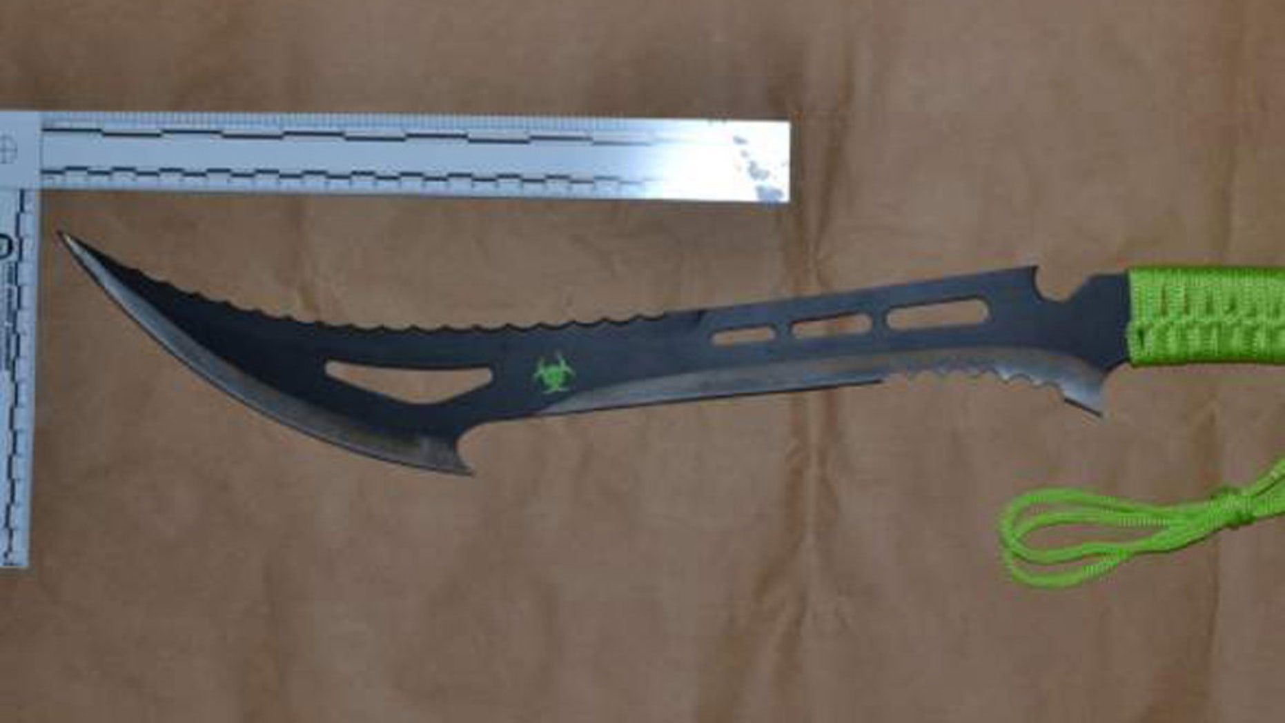 The weapon was not found in the park, but police discovered other Zombie Killer knives.