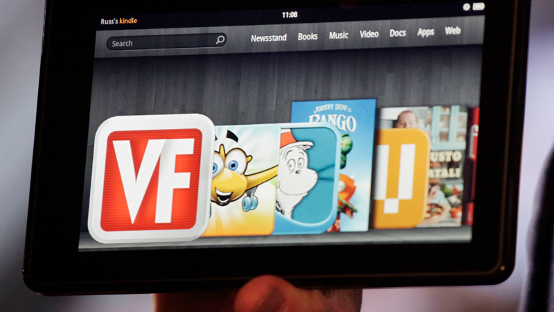 Sept. 28, 2011: The Kindle Fire is shown at a news conference in New York. The e-reader and tablet has a 7-inch multicolor touchscreen and sells for $199.