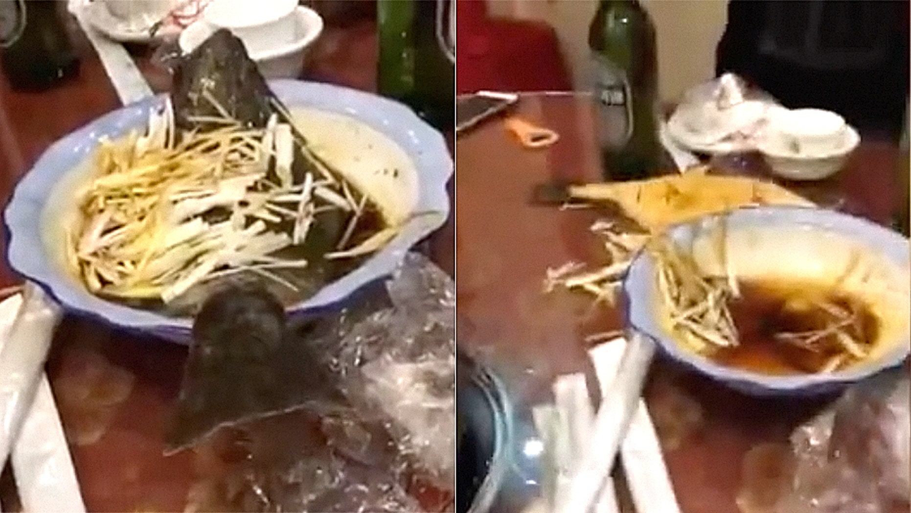 Footage from an unnamed Chinese restaurant appears to shows a fish — plated and dressed with sauce and scallions — seeming to spring to life.