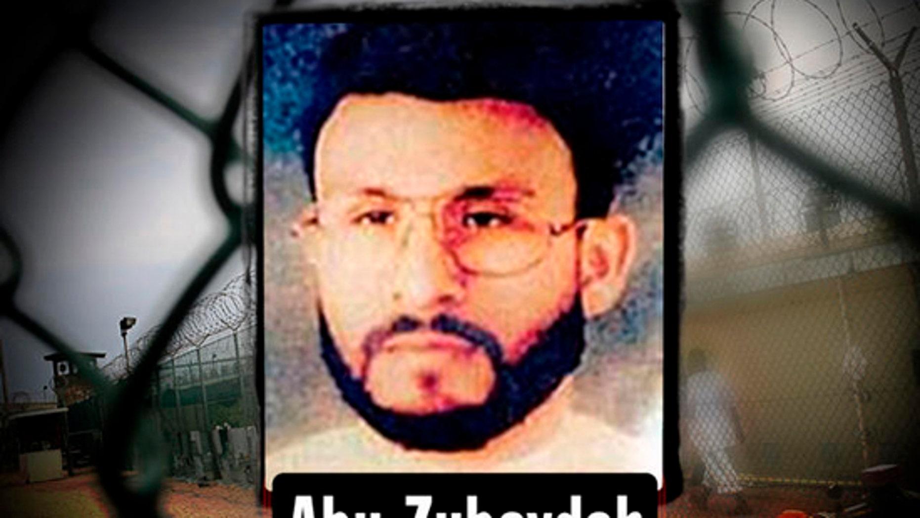 Abu Zubaydah framed headshot, image provided by US Central Command, over Guantanamo Bay US Naval Base, Cuba. (AP)