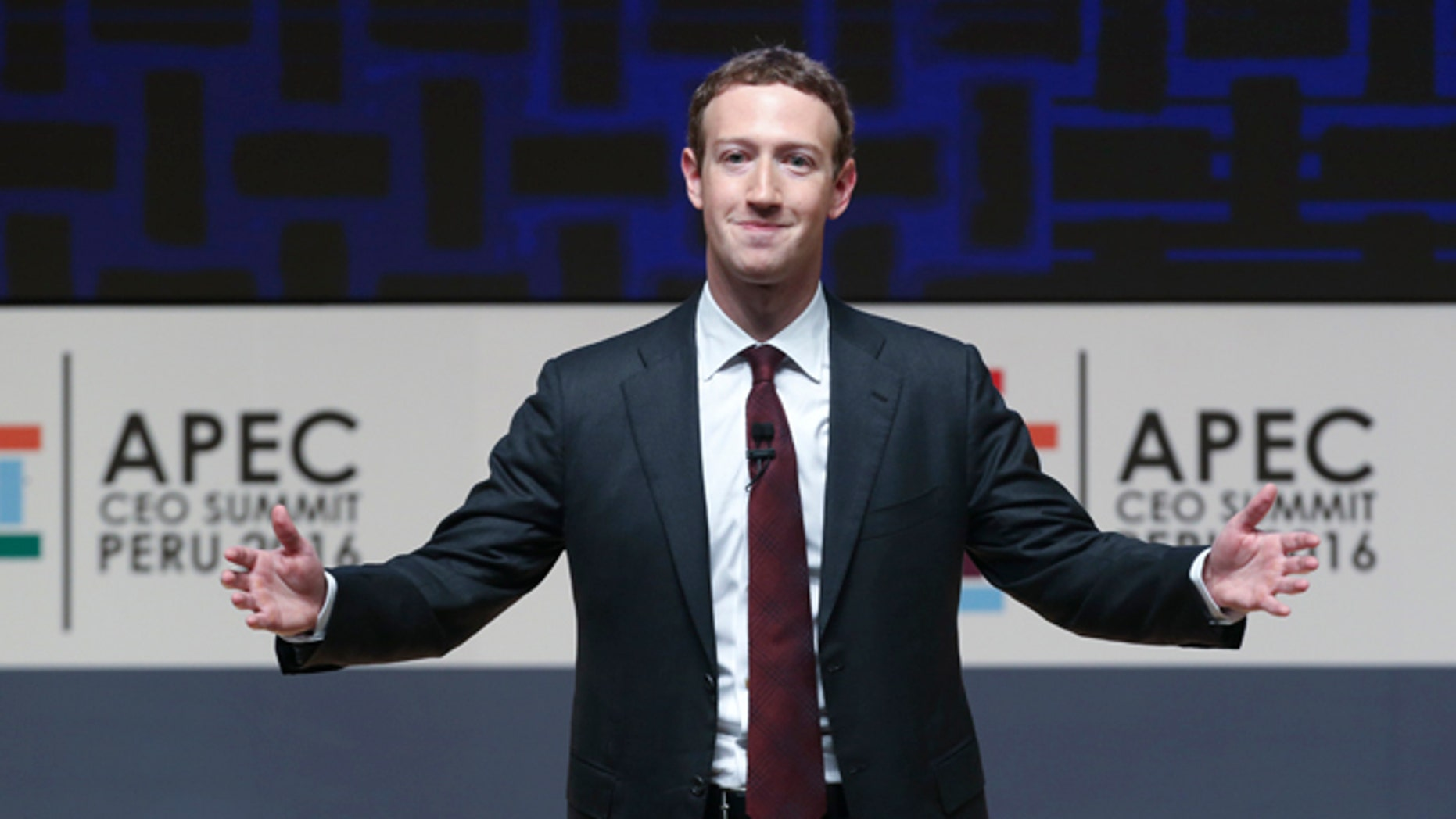 "FILE - In this Nov. 19, 2016, file photo, Mark Zuckerberg, chairman and CEO of Facebook, speaks at the CEO summit during the annual Asia Pacific Economic Cooperation (APEC) forum in Lima, Peru. Zuckerberg unveiled his new artificial intelligence assistant named ""Jarvis"" in a Facebook post on Dec. 19, 2016. (AP Photo/Esteban Felix, File)"