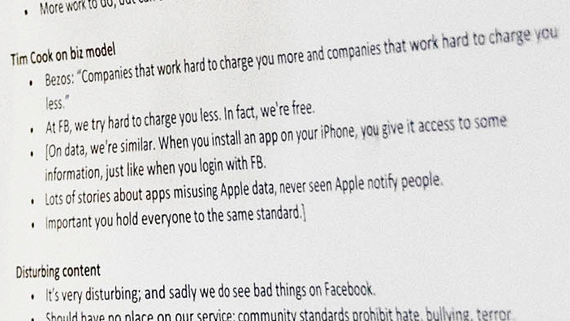 A close-up of Facebook CEO Mark Zuckerberg's notes taken by an AP photographer show he was ready to hit back at Apple if questioned. (Credit: AP Photo/Andrew Harnik)