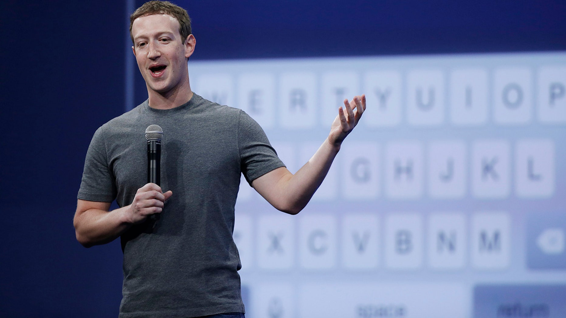 FILE - In this March 25, 2015, file photo, Mark Zuckerberg talks about the Messenger app during the Facebook F8 Developer Conference in San Francisco. (AP Photo/Eric Risberg, File)