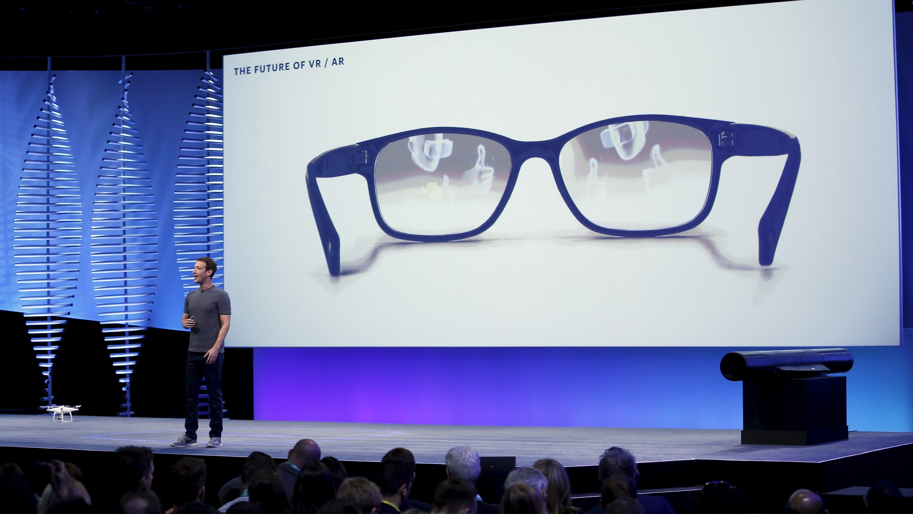 Facebook CEO Mark Zuckerberg speaks on stage during the Facebook F8 conference in San Francisco, California April 12, 2016. (REUTERS/Stephen Lam)
