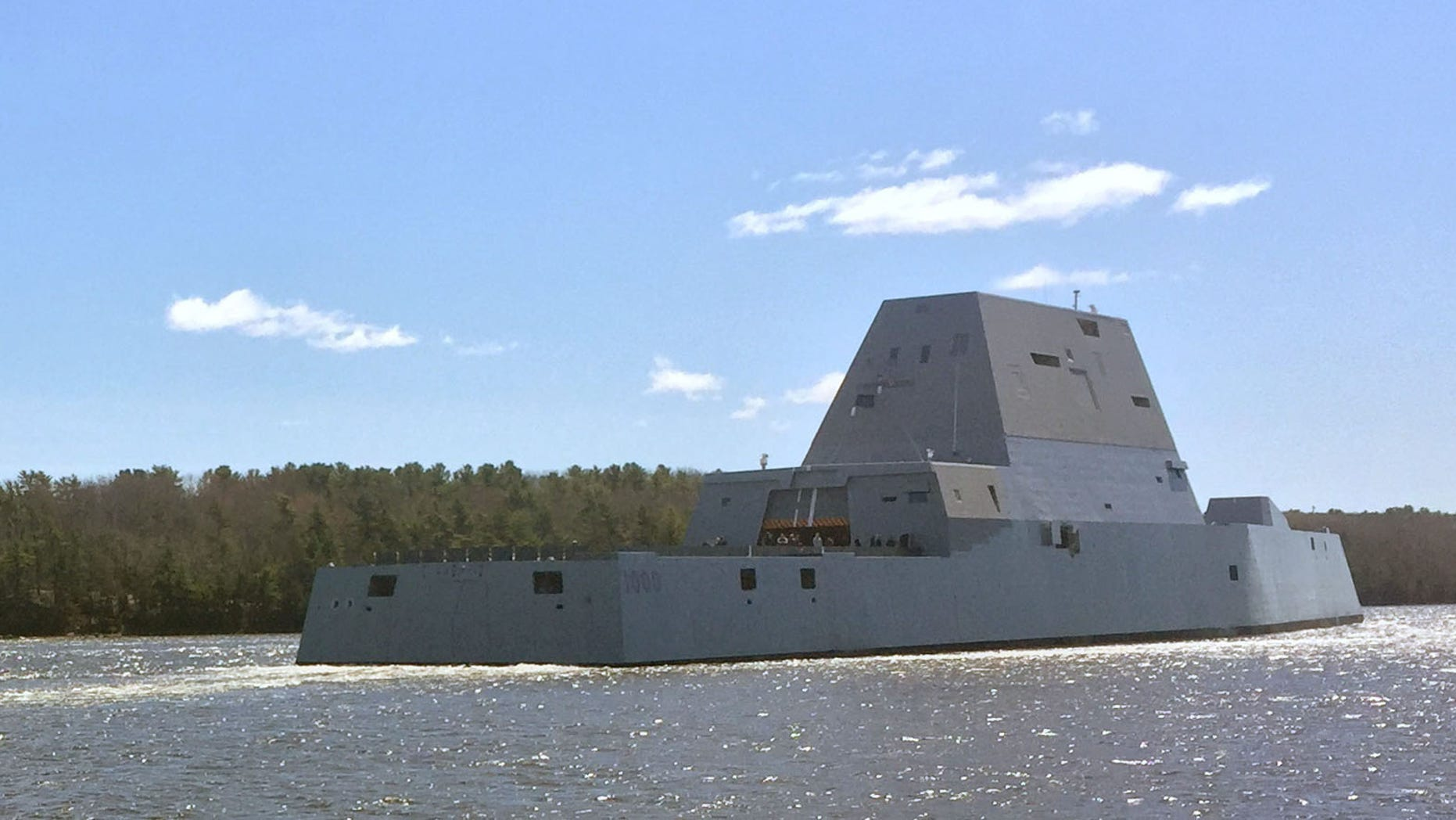 The future guided-missile destroyer USS Zumwalt departs Bath, Maine, in April 2016 to conduct acceptance trials with the Navy's Board of Inspection and Survey (INSURV). (Credit: US Navy)