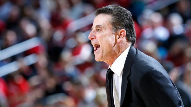LOUISVILLE, KY - NOVEMBER 24: Head coach Rick Pitino of the Louisville Cardinals looks on during the game against the St. Francis-New York Terriers at KFC Yum! Center on November 24, 2015 in Louisville, Kentucky. Louisville won 85-41. (Photo by Joe Robbins/Getty Images)