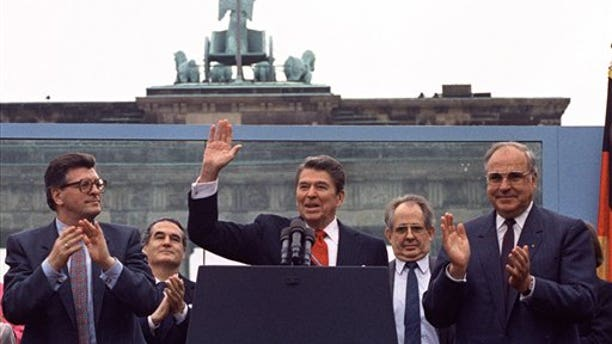 In 1987, President Ronald Reagan traveled to Berlin for a speech in which he challenged the Soviet Union to literally and figuratively tear down the wall separating East and West.