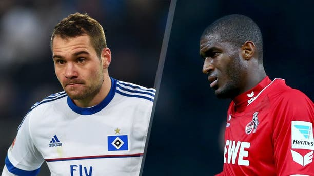 HAMBURG, GERMANY - JANUARY 22: Pierre-Michel Lasogga of SV Hamburg looks on during the Bundesliga match between Hamburger SV and FC Bayern Muenchen at Volksparkstadion on January 22, 2016 in Hamburg, Germany. (Photo by Stuart Franklin/Bongarts/Getty Images) BERLIN, GERMANY - SEPTEMBER 22: Anthony Modeste of Koeln reacts during the Bundesliga match between Hertha BSC Berlin and 1. FC koelm at Olympiastadion on September 22, 2015 in Berlin, Germany. (Photo by Martin Rose/Bongarts/Getty Images)