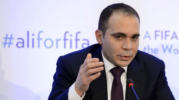 FIFA presidential contender Prince Ali bin al Hussein gestures during a press conference on February 11, 2016 at the Geneva press club. The FIFA presidential election, when a successor to the disgraced Sepp Blatter will be voted in as the head of world football's governing body, will take place in Zurich on February 26. / AFP / FABRICE COFFRINI (Photo credit should read FABRICE COFFRINI/AFP/Getty Images)