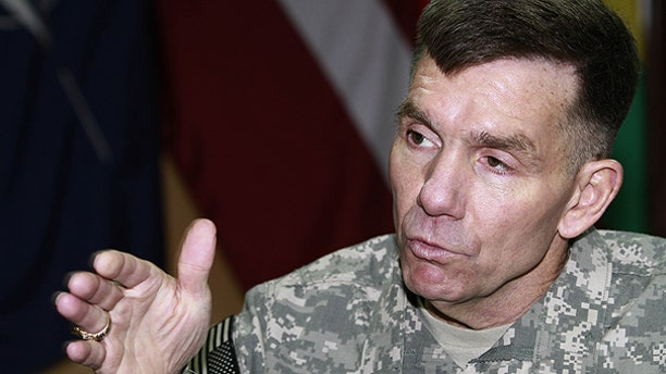Feb. 12: U.S. Lt. Gen. William Caldwell, the commander of NATO's mission to train Afghan policemen and soldiers Kabul, speaks during an interview with The Associated Press in Kabul, Afghanistan.