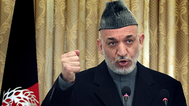 Feb. 8: Afghan President Hamid Karzai speaks during a press conference in Kabul, Afghanistan.