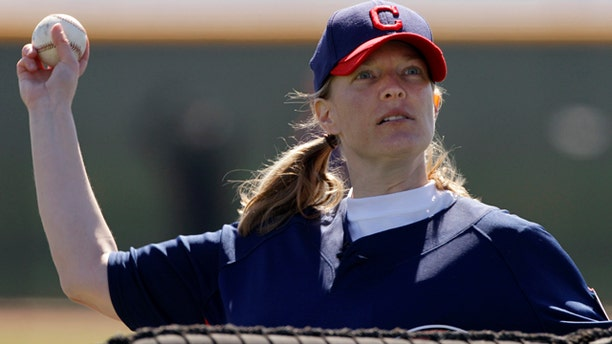 Feb. 21: Justine Siegal throws batting practice to Cleveland Indians catchers during baseball spring training in Goodyear, Ariz.