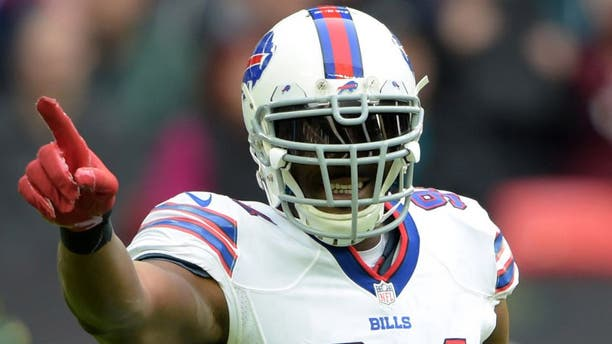 Oct 25, 2015; London, United Kingdom; Buffalo Bills defensive end Mario Williams (94) gestures during 34-31 loss against the Jacksonville Jaguars during NFL International Series game at Wembley Stadium. Mandatory Credit: Kirby Lee-USA TODAY Sports