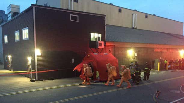 Hazmat team responding to an ammonia leak in Boston.